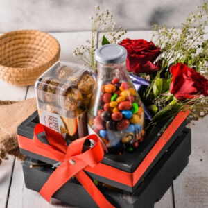 send chocolate and rose flower basket to karachi from UK