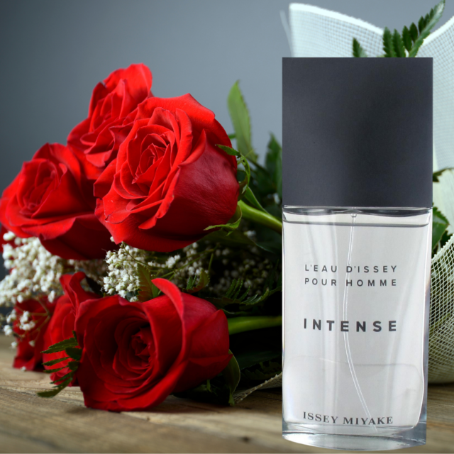 gift combo of perfume and res roses bouquet