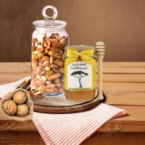 jar of honey and mixed dry fruits
