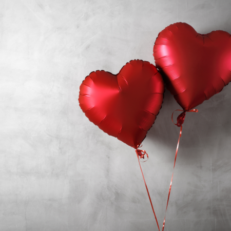 heart balloons in red for valentines