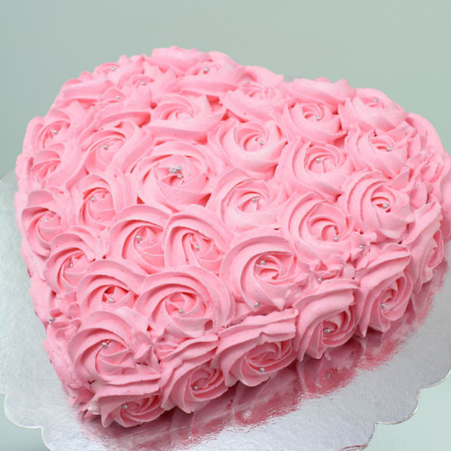 pink heart cake for her on anniversary and valentines