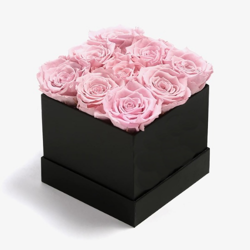 Rose box with pink roses for valentines' day, anniversary and birthdays