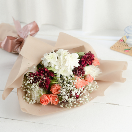 Roses and chrysanthemums bouquet for him and for her