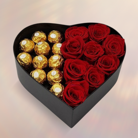 valentines or anniversary, red roses and chocolates fill the heart box